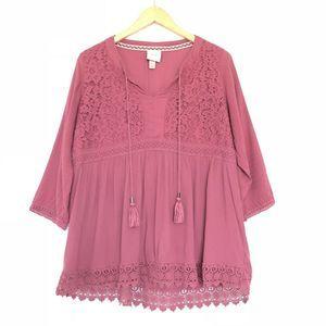 Knox Rose Mauve Boho Peasant Tunic Top Lace Croche